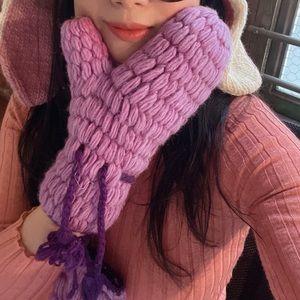HAND-KNITTED Woollen Gloves Fleece Lined Mitten
